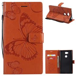 Embossing 3D Butterfly Leather Wallet Case for Sony Xperia L2 - Orange