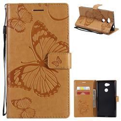 Embossing 3D Butterfly Leather Wallet Case for Sony Xperia L2 - Yellow