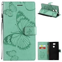 Embossing 3D Butterfly Leather Wallet Case for Sony Xperia L2 - Green