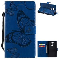 Embossing 3D Butterfly Leather Wallet Case for Sony Xperia L2 - Blue
