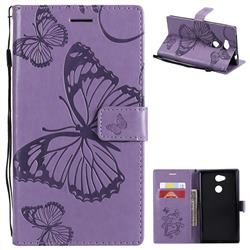 Embossing 3D Butterfly Leather Wallet Case for Sony Xperia L2 - Purple
