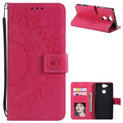 Intricate Embossing Datura Leather Wallet Case for Sony Xperia L2 - Rose Red