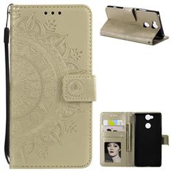 Intricate Embossing Datura Leather Wallet Case for Sony Xperia L2 - Golden
