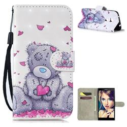 Love Panda 3D Painted Leather Wallet Phone Case for Sony Xperia L2