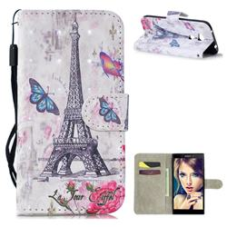 Paris Tower 3D Painted Leather Wallet Phone Case for Sony Xperia L2