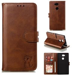 Embossing Happy Cat Leather Wallet Case for Sony Xperia L2 - Brown