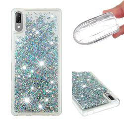 Dynamic Liquid Glitter Quicksand Sequins TPU Phone Case for Sony Xperia L3 - Silver