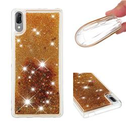 Dynamic Liquid Glitter Quicksand Sequins TPU Phone Case for Sony Xperia L3 - Golden