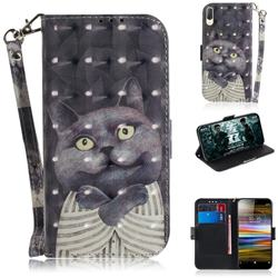 Cat Embrace 3D Painted Leather Wallet Phone Case for Sony Xperia L3