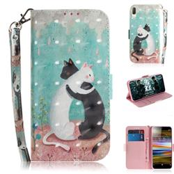 Black and White Cat 3D Painted Leather Wallet Phone Case for Sony Xperia L3