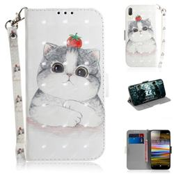 Cute Tomato Cat 3D Painted Leather Wallet Phone Case for Sony Xperia L3