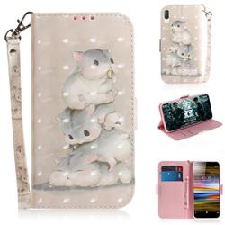 Three Squirrels 3D Painted Leather Wallet Phone Case for Sony Xperia L3