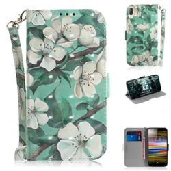 Watercolor Flower 3D Painted Leather Wallet Phone Case for Sony Xperia L3