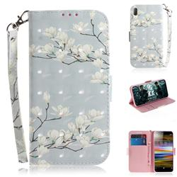 Magnolia Flower 3D Painted Leather Wallet Phone Case for Sony Xperia L3