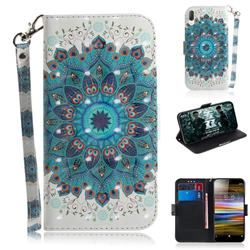 Peacock Mandala 3D Painted Leather Wallet Phone Case for Sony Xperia L3