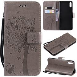 Embossing Butterfly Tree Leather Wallet Case for Sony Xperia L3 - Grey