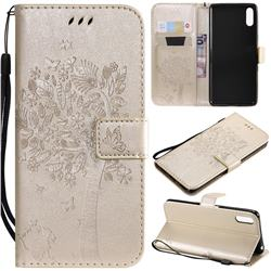 Embossing Butterfly Tree Leather Wallet Case for Sony Xperia L3 - Champagne
