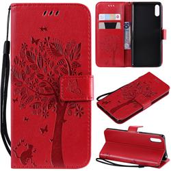 Embossing Butterfly Tree Leather Wallet Case for Sony Xperia L3 - Red