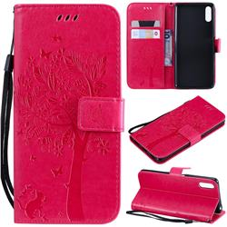 Embossing Butterfly Tree Leather Wallet Case for Sony Xperia L3 - Rose