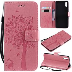 Embossing Butterfly Tree Leather Wallet Case for Sony Xperia L3 - Pink