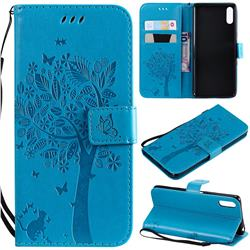 Embossing Butterfly Tree Leather Wallet Case for Sony Xperia L3 - Blue