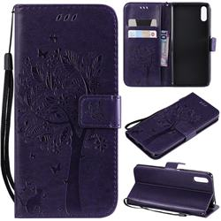 Embossing Butterfly Tree Leather Wallet Case for Sony Xperia L3 - Purple