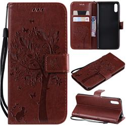 Embossing Butterfly Tree Leather Wallet Case for Sony Xperia L3 - Coffee