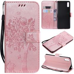 Embossing Butterfly Tree Leather Wallet Case for Sony Xperia L3 - Rose Pink