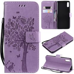 Embossing Butterfly Tree Leather Wallet Case for Sony Xperia L3 - Violet