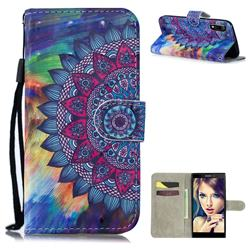 Oil Painting Mandala 3D Painted Leather Wallet Phone Case for Sony Xperia L3