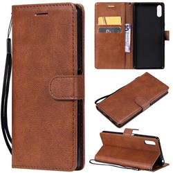 Retro Greek Classic Smooth PU Leather Wallet Phone Case for Sony Xperia L3 - Brown