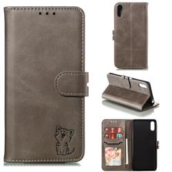 Embossing Happy Cat Leather Wallet Case for Sony Xperia L3 - Gray