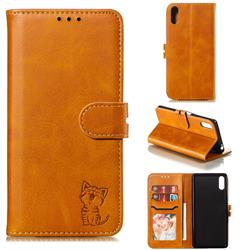 Embossing Happy Cat Leather Wallet Case for Sony Xperia L3 - Yellow