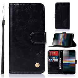 Luxury Retro Leather Wallet Case for Sony Xperia L3 - Black