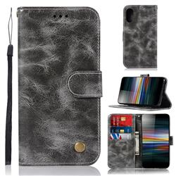 Luxury Retro Leather Wallet Case for Sony Xperia L3 - Gray