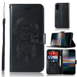 Intricate Embossing Owl Campanula Leather Wallet Case for Sony Xperia L3 - Black