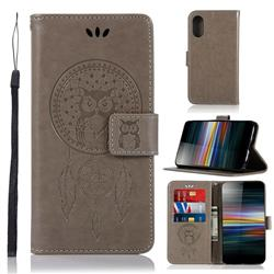 Intricate Embossing Owl Campanula Leather Wallet Case for Sony Xperia L3 - Grey