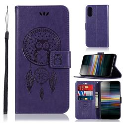Intricate Embossing Owl Campanula Leather Wallet Case for Sony Xperia L3 - Purple