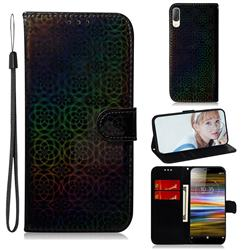 Laser Circle Shining Leather Wallet Phone Case for Sony Xperia L3 - Black