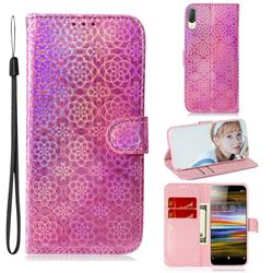 Laser Circle Shining Leather Wallet Phone Case for Sony Xperia L3 - Pink