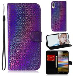 Laser Circle Shining Leather Wallet Phone Case for Sony Xperia L3 - Purple