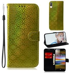 Laser Circle Shining Leather Wallet Phone Case for Sony Xperia L3 - Golden
