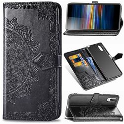 Embossing Imprint Mandala Flower Leather Wallet Case for Sony Xperia L3 - Black