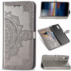 Embossing Imprint Mandala Flower Leather Wallet Case for Sony Xperia L3 - Gray