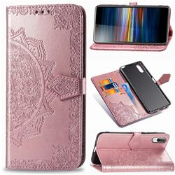 Embossing Imprint Mandala Flower Leather Wallet Case for Sony Xperia L3 - Rose Gold