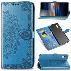 Embossing Imprint Mandala Flower Leather Wallet Case for Sony Xperia L3 - Blue