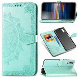 Embossing Imprint Mandala Flower Leather Wallet Case for Sony Xperia L3 - Green