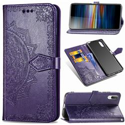 Embossing Imprint Mandala Flower Leather Wallet Case for Sony Xperia L3 - Purple