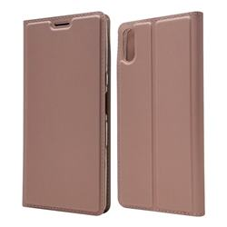 Ultra Slim Card Magnetic Automatic Suction Leather Wallet Case for Sony Xperia L3 - Rose Gold