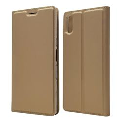 Ultra Slim Card Magnetic Automatic Suction Leather Wallet Case for Sony Xperia L3 - Champagne